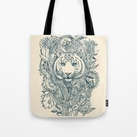 leaf Tote Bags featuring Tiger Tangle by micklyn