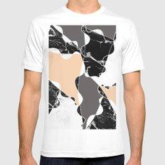 Modern black white marble gray peach color block MEDIUM White Mens Fitted Tee