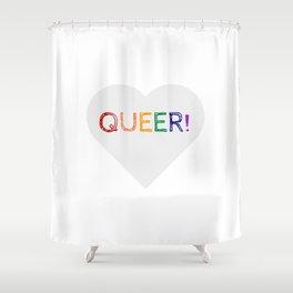 QUEER RAINBOW HEART Shower Curtain