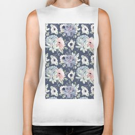 Beautiful Succulent Garden Navy Blue + Pink Biker Tank