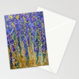Wisteria Abstract Painting, Colorful Wall Art, Floral Home Decor Stationery Cards