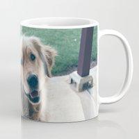 golden retriever Mugs featuring Golden Retriever by CallieDavis