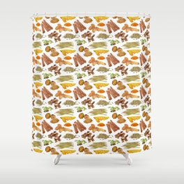 Watercolor Illustration of a set of spices Shower Curtain