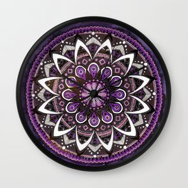 Crown Chakra Purpe Mandala Wall Clock