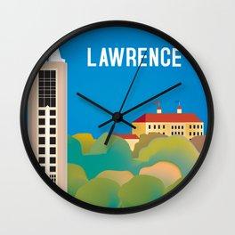 Lawrence, Kansas - Skyline Illustration by Loose Petals Wall Clock