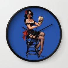 Zombie Sugar Skull Pinup Wall Clock