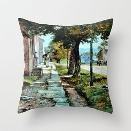 Street in Vernon - Theodore Clement Steele Throw Pillow