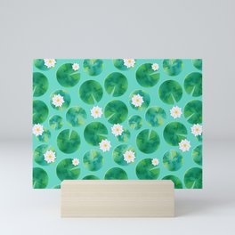 Lily Pads & White Water Lily Flowers Mini Art Print
