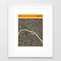 paris map Framed Art Prints featuring Paris Map by Jazzberry Blue