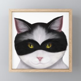 They call me the Masked Cat Framed Mini Art Print