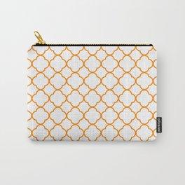 Clover Quatrefoil Pattern: Orange Carry-All Pouch