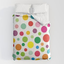 Rainbow Colorful polka dots on white Comforters