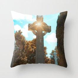 Celtic Cross and Sunshine Throw Pillow