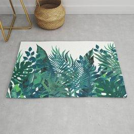 Tropical, Palm, Hawaii Prints, Teal and Green Rug