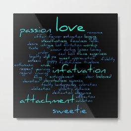 Romantic Handwritten Love Word Cloud Blue Text Metal Print