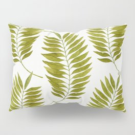 Olive Green Watercolor Palm Leaves Pattern Pillow Sham