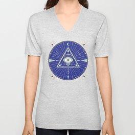 Evil Eye Mandala – Navy Unisex V-Neck