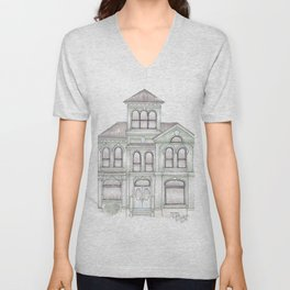 Green Italianate Victorian Unisex V-Neck