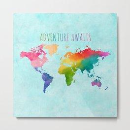 Watercolor World Map Bright Rainbow Adventure Awaits in Aqua Metal Print