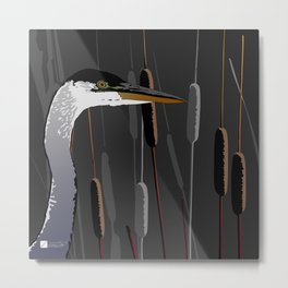 Great Blue Heron - Dark Background Metal Print