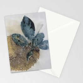 Blue Leaves Eco-print Stationery Cards