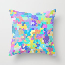 Stained glass print, colorful crystal shapes Throw Pillow