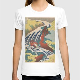 Yoshino Waterfalls Where Yoshitsune Washed his Horse by Katsushika Hokusai T-shirt
