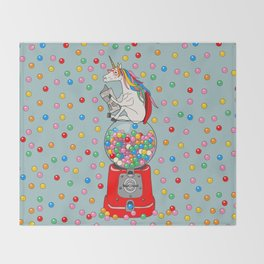 Unicorn Gumball Poop Throw Blanket