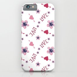 Pink Love Hearts iPhone Case