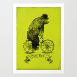 Bears on Bicycles (Lime) Art Print