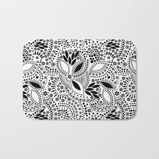 Black and white polka dot pattern . Bath Mat