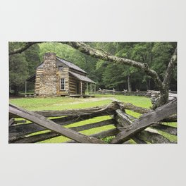 The Oliver Cabin in Cade's Cove in the Great Smokey Mountains Rug