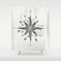 compass Shower Curtains featuring Arrow Compass by By Nordic