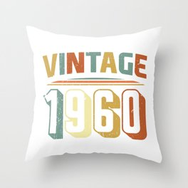 Vintage 1960 60th Birthday Gift  Throw Pillow