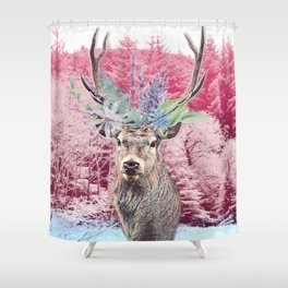 Floral Stag Shower Curtain