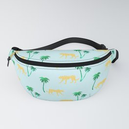 Animal Print Yellow Cheetah under Green Palm Trees on Muted Blue Background Fanny Pack