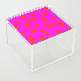 Pink Retro Flowers Orange Red Background #decor #society6 #buyart Acrylic Box