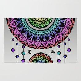 Rainbow Mandala Dream Catcher Rug