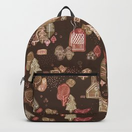Hansel and Gretel Fairy Tale Gingerbread Pattern on Brown Backpack