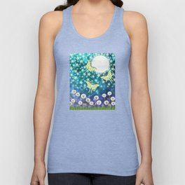 the moon, stars, luna moths, & dandelions Unisex Tank Top