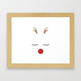 Red nose reindeer Framed Art Print