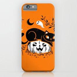 Spooky Cat - Mid Century Vintage Orange iPhone Case