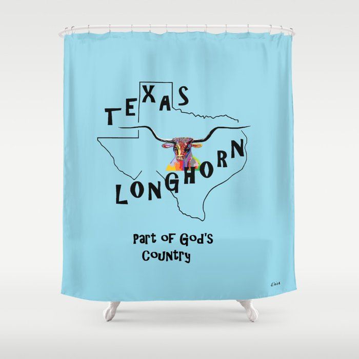 Texas Longhorn Gods Country Shower Curtain By Eloiseart