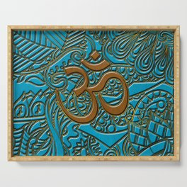 Brown on Teal Leather Embossed OM symbol Serving Tray