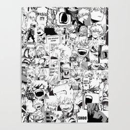 angry bakugou collage Poster