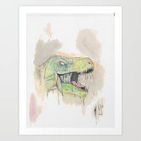 t rex Art Prints featuring T-Rex by BijanSouri