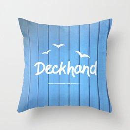 Deckhand Nautical Blue Art Print Throw Pillow