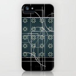 Black Green Grey Digital Daisy Abstract iPhone Case