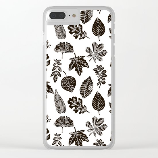 Linocut leaves fall autumn black and white home decor seasonal patterns Clear iPhone Case