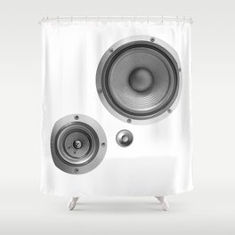 Subwoofer Speaker on white Shower Curtain